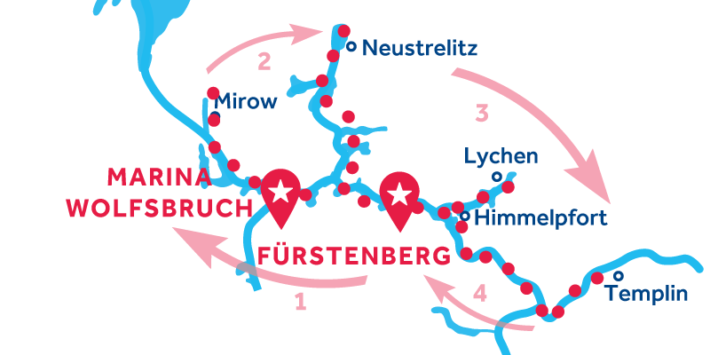 Fürstenberg RETURN via Mirow, Neustrelitz & Templin