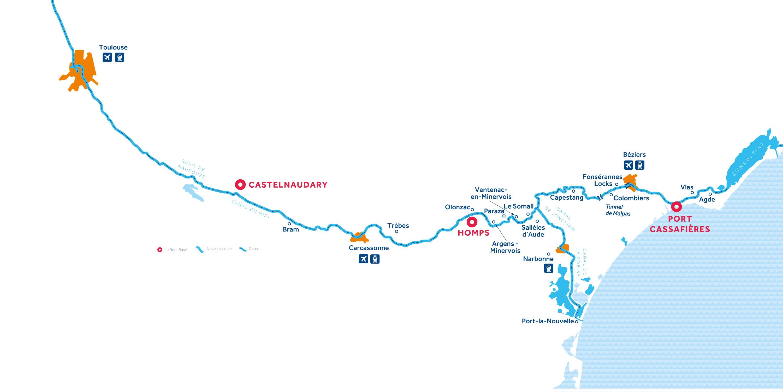Canal du Midi region map