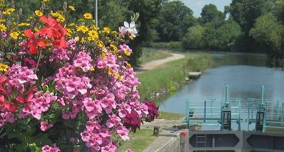 Flowers at lock in Brittany