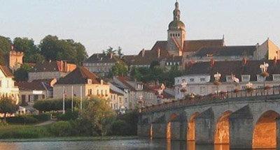 Sunset over Burgundian town
