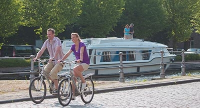 Cycling along canal