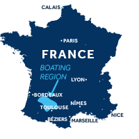 Map showing where Aquitaine boating region is in France