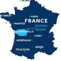 Map showing where Charente boating region is in France