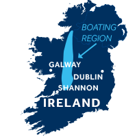 Map showing where the Shannon & Erne boating region is in Ireland