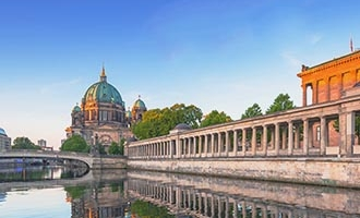 Berlin and river at dusk