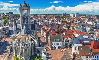 View over Ghent and Saint Nicholas Church